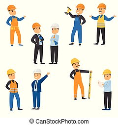 Collection set male workers of engineers and other technician professions. Builders dressed in protective vests and helmets concept. Colorful raster flat isolated icons set