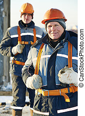 workers builders team at construction site - Team of builder...
