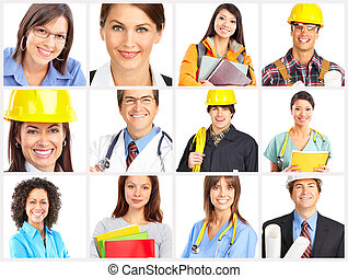 Workers - Businessman, builder, nurse, architect. Isolated...
