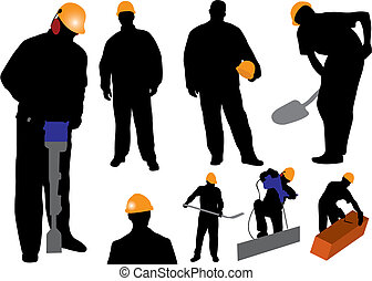 Workers - Silhouettes worker. Vector illustration for you...