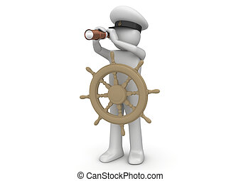 Workers collection - Captain - 3d characters isolated on...