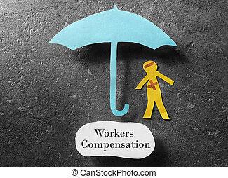Workers Compensation concept - bandaged paper man under...