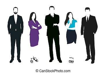 workers., conjunto, secretario, work., personas oficina,...