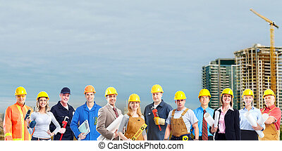 workers., construction, groupe
