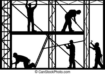 Construction workers silhouette isolated on white