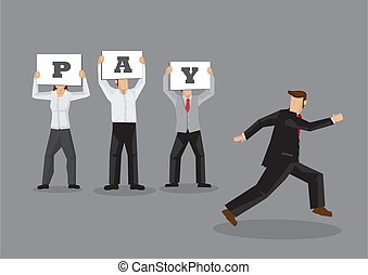 Workers Demand for Pay from Escaping Boss Conceptual Vector ...