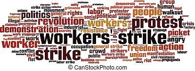 workers', greve, palavra, nuvem