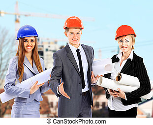 workers., groupe, constructeurs