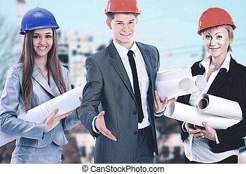 workers., groupe, industrie, arrière-plan., construction, constructeurs