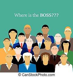 workers., gruppo, ufficio affari, capo, team., dove