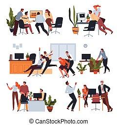 Workers having fun in office at breaks set