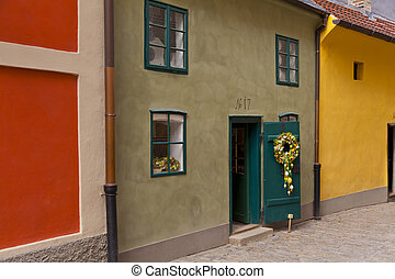 Workers' houses of the castle - Golden Lane in Prague Castle