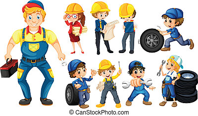 Illustration of different workers