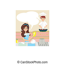 workers in the kitchen, woman washes dishes, man cooks a dish