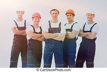 workers., industrial, grupo, profissional