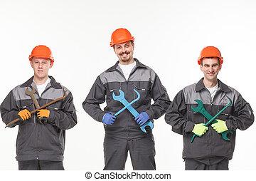 workers., industrie, gruppe, aus, freigestellt, hintergrund, weißes