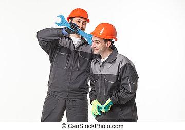workers., industriebedrijven, groep, op, vrijstaand, achtergrond, witte
