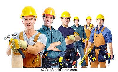 workers., industriebedrijven, groep