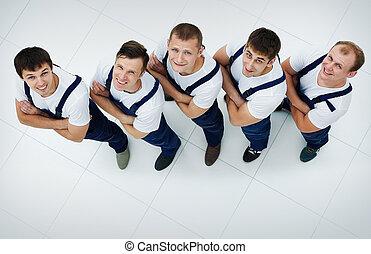 workers., industriel, groupe, sommet, professionnel, vue