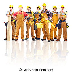 workers., industriell, grupp, professionell