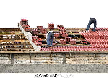 Workers Laying Roof Tiles - Image of workers laying roof...