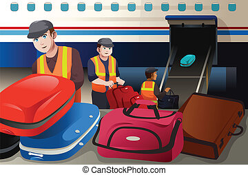 Workers loading luggage into an airplane in the airport - A...