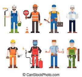 Workers man vector set. - Construction worker wearing yellow...