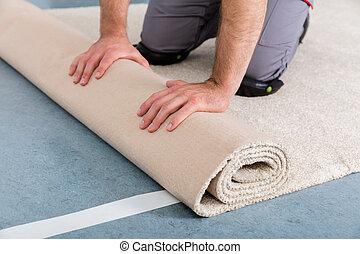 worker's, manos, rodante, alfombra