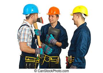 Workers men having happy conversation
