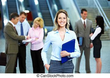 workers., mulher, grupo, negócio