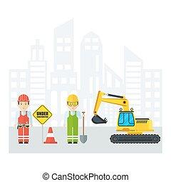 workers near excavator
