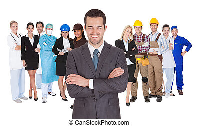 Workers of different professions together on white -...