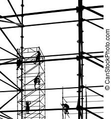 Workers on a Steel Scaffold