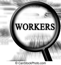 workers on a white background with a magnifier