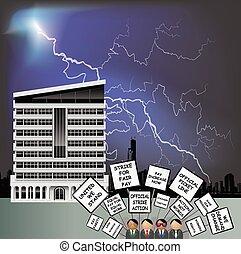 Workers on strike outside office - Workers on strike ...