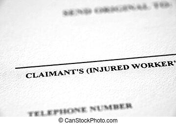 worker's, ouvriers, plainte, formulaire, compensation