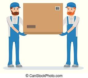 workers., pacote, movedores, isolado, entregar, experiência., armazém, branca