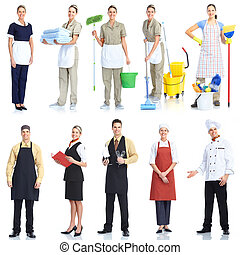 Workers people - Young smiling waiter chef and cleaner....