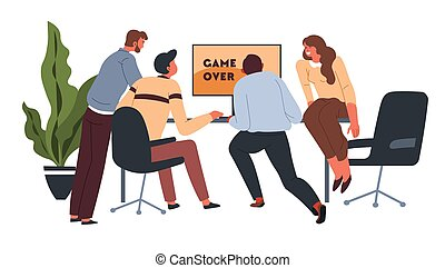 Workers playing video games at coffee break in office
