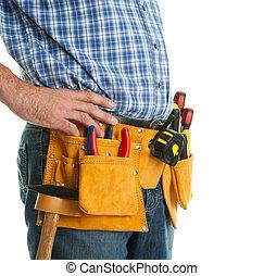 worker's, primer plano, toolbelt