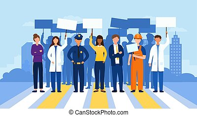 Workers Protest with group of professionals