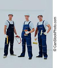 workers., przemysłowy, grupa, profesjonalny