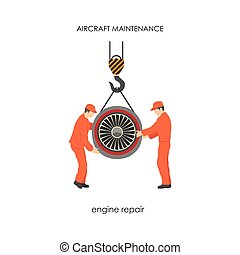 Workers raised the aircraft engine on a lift. Repair and maintenance of aircraft