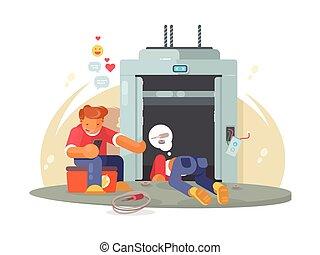 Workers repairing broken lift
