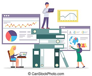 Workers Research Building Business Online Vector