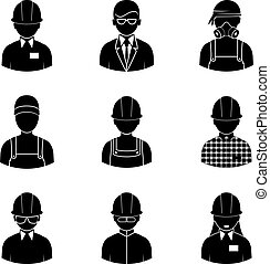workers silhouettes icons - workers icons, vector people...
