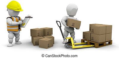 Workers stacking boxes