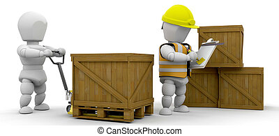 Workers stacking crates