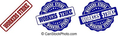 WORKERS STRIKE Scratched Stamp Seals