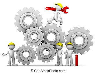 Workers team with gear mechanism - Workers team adjusting...